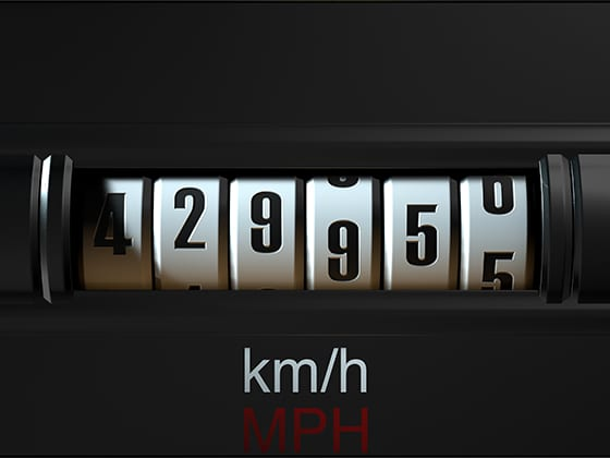 Car odometer with 429,955 miles