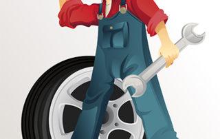 Cartoon mechanic in overalls