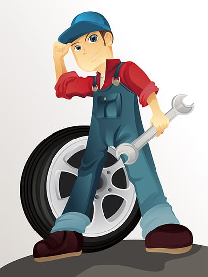 Cartoon mechanic in overalls