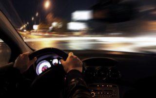 Driver driving at night