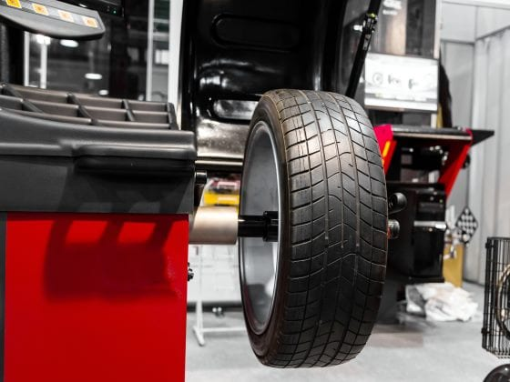 Car Tire Being Balanced